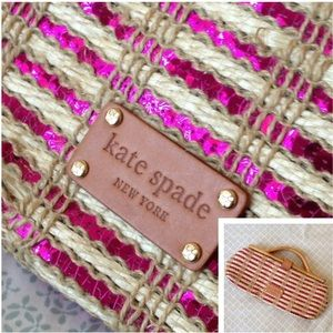 Rare kate spade Woven Straw and Sequin Clutch